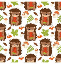 Hedgehog seamless pattern vector