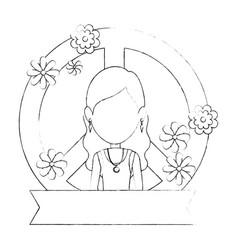 Hippie woman cartoon vector