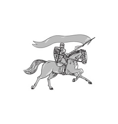Knight riding horse shield lance flag retro vector