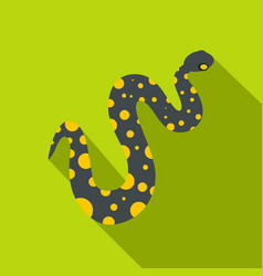 Purple snake with yellow spots icon flat style vector