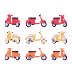 set of scooters in red yellow orange colors vector image