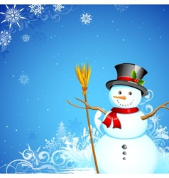 Snowman in christmas snowflakes background vector