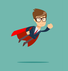 Super businessman in a cloak of super man vector