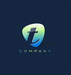T letter logo oval shape modern design vector