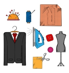 Tailor tools cloth and accessories vector