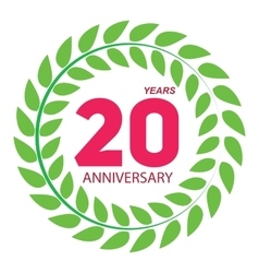 Template logo 20 anniversary in laurel wreath vector