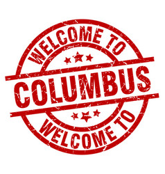 Welcome to columbus red stamp vector