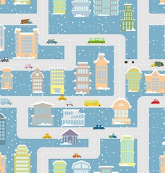 Winter city seamless pattern metropolis with vector