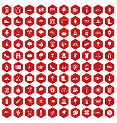 100 spring icons hexagon red vector