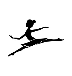 Silhouette with dancer position small spears vector