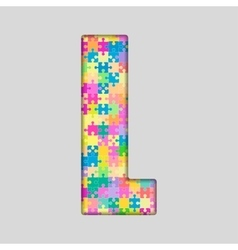 Color piece puzzle jigsaw letter - l vector