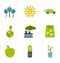 Purity of nature icons set flat style vector