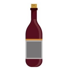 Red wine bottle with cork empty label vector