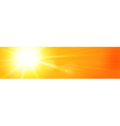 Banner panorama hot sun sky orange yellow vector