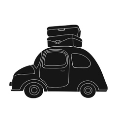 Red car with a luggage on the roof icon in black vector image