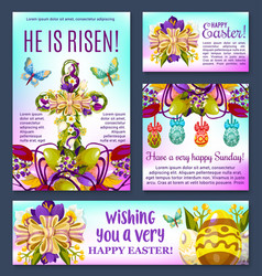 Easter floral cross with egg banner template vector