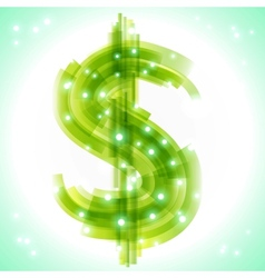 Green money symbol with transparency and lights vector