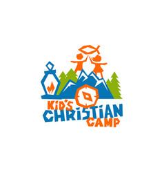 Logo of kids christian camp vector