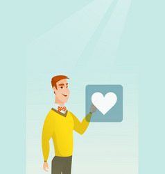 Young man pressing heart shaped button vector