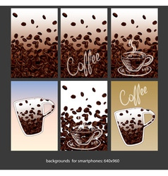 Coffee smartphone backgrounds vector