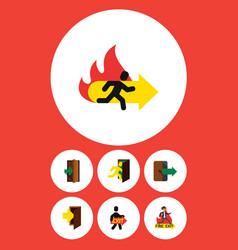 Flat icon emergency set of emergency entrance vector