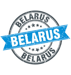 Belarus blue round grunge vintage ribbon stamp vector