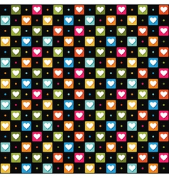 Black pattern with color hearts vector
