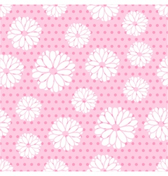 Seamless pattern of flowers and dots vector