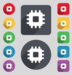 Central processing unit icon sign a set of 12 vector