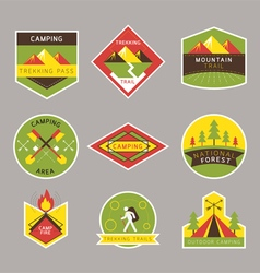 Camping label and badge flat design style vector