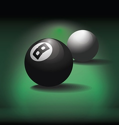 Pool balls on green table background vector