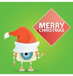 Cartoon cute robot with santa claus red hat vector