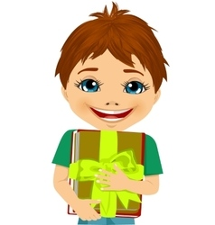 Little boy hugging a stack of books vector