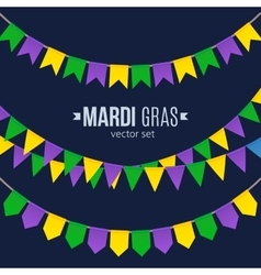 Mardi gras traditional flags set isolated on dark vector