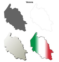 Verona blank detailed outline map set vector