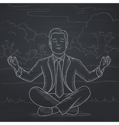 Businessman meditating in lotus pose vector