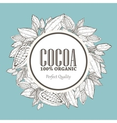 Hand painted cocoa wreath botany vector
