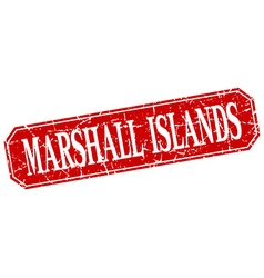 Marshall islands red square grunge retro style vector