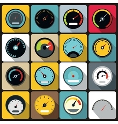 Speedometer icons set flat style vector