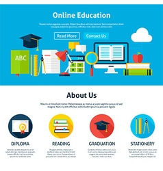 Online education flat web design template vector