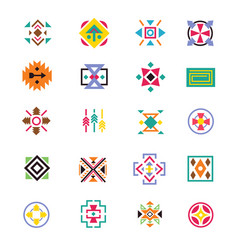 Aztec ethnicity style signs american indian vector