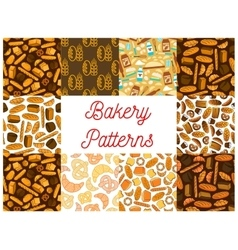 Bakery bread products seamless pattern backgrounds vector
