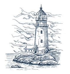 Beacon or harbor lighthouse sketch on island vector