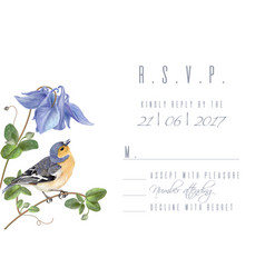 blue flower bird rsvp card vector image