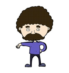 Comic cartoon man with mustache making camp vector