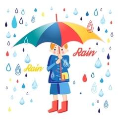 Drawing boy under an umbrella vector