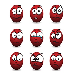 Emotions eggs red group vector