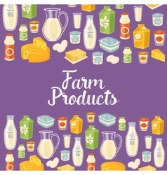Farm products banner with dairy icons vector