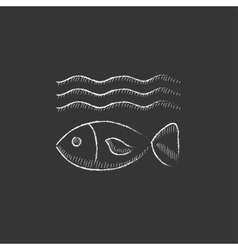Fish under water drawn in chalk icon vector