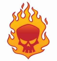 flaming skull vector image